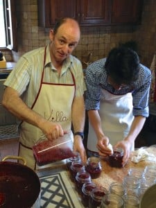 Filling our jam jars during cooking classes in Italy
