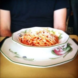 Spaghetti with our handmade tomato sauce