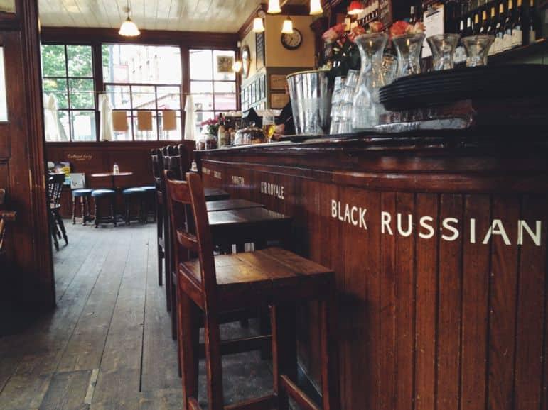 Wood interiors of The English Restaurant