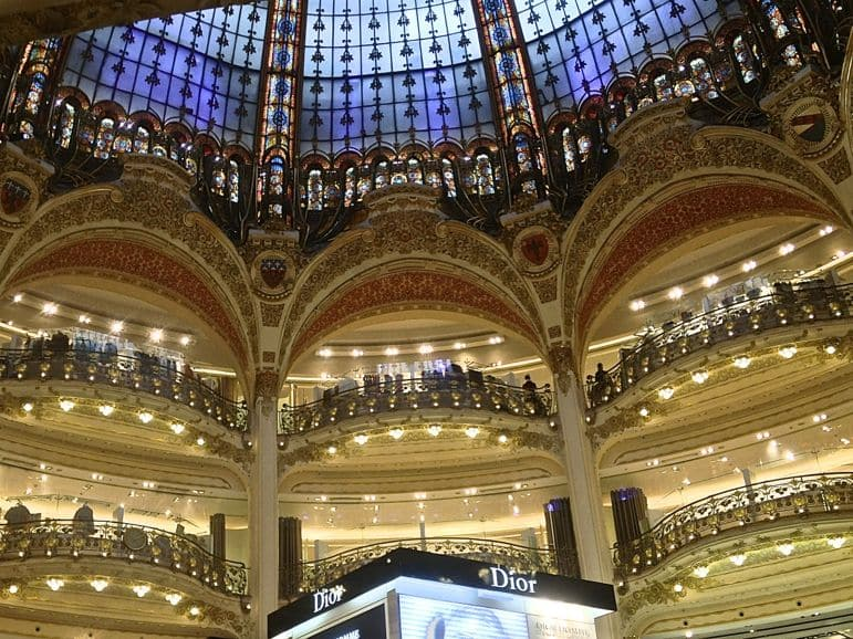 Shopping at Galleries Lafayette, in Paris