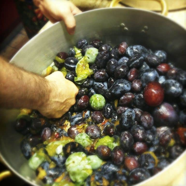 Crushing the plums