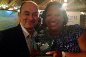 Terry and Sarah Lee with LiveShareTravel's Caribbean Tourism Organisation Journalism Award