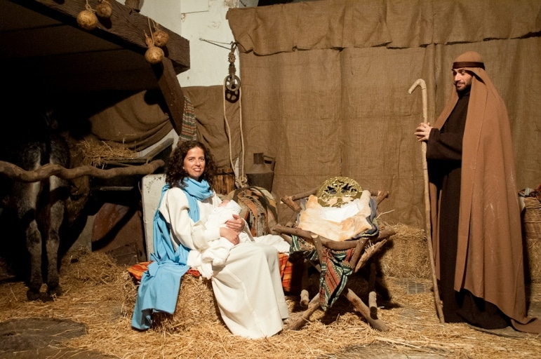 Away in a manger Mary, Jesus and Joseph, Arcos De La Fronteras living nativity