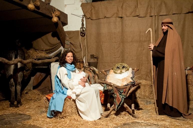 Away in a manger Mary, Jesus and Joseph, Arcos De La Fronteras living nativity