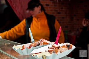 Bratwurst is served on market stall at Christmas in Vienna