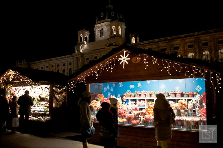 Bright and cheerful Christmas market stalls in Vienna