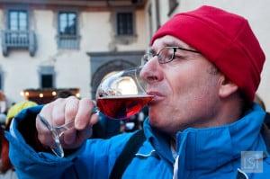 Terry samples a strawberry sparkling wine at Schloss Schallaburg