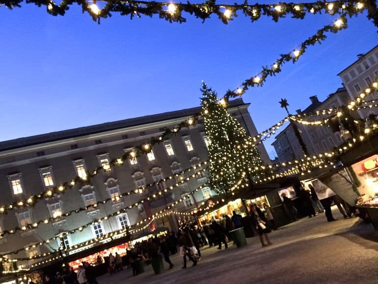 The market in Residenzplatz is the centrepiece to Christmas in Salzburg