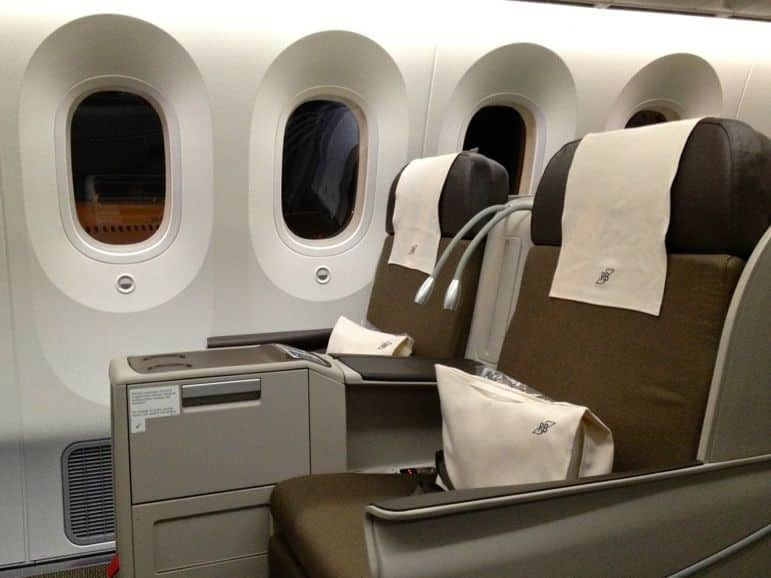 Seats on Royal Brunei's Dreamliner have many angles of recline