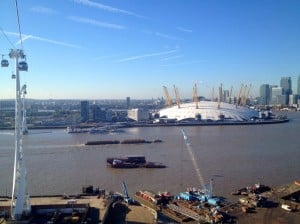 The O2 and Docklands from Emirates Airline