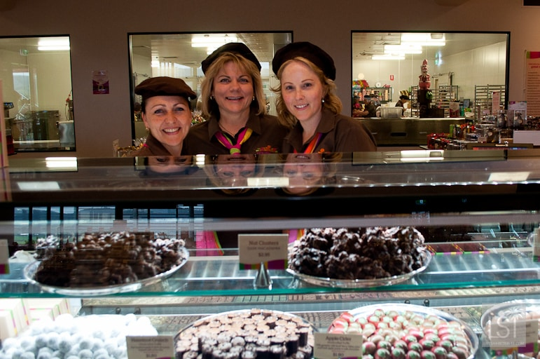 Yarra Valley Chocolaterie with owner Leanne Neeland, centre