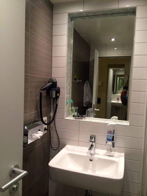 En-suite bathroom at the Meininger Hotel - a great value for money option for Berlin on a budget