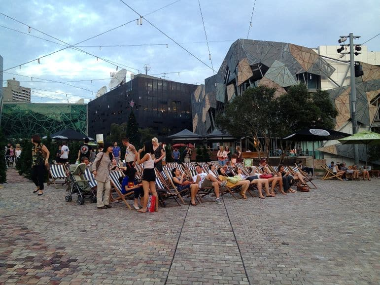 Spring nights at Federation Square, Melbourne