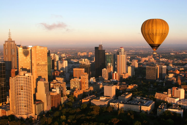 A hot air balloon flight over Melbourne