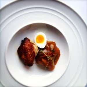Quail, red cabbage, mulled wine jelly, quail egg at Ten Minutes by Tractor