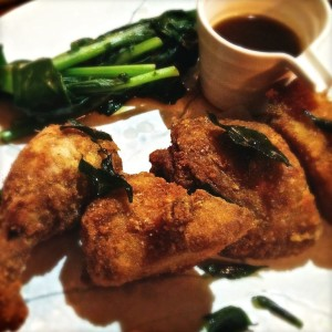 Crispy masterstock free range chicken with market greens and plum vinegar