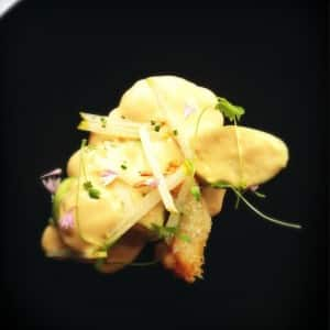 Crab cannelloni with cripy prawn and bisque fumet at Ten Minutes by Tractor