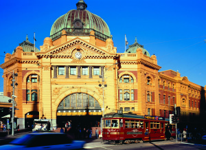 Melbourne's Flinders Street station and tram