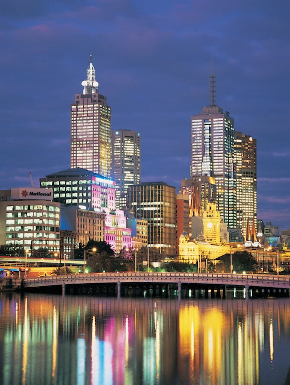Melbourne's skyline at night