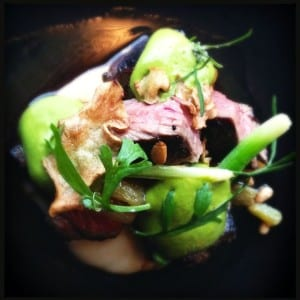 Roasted lamb rump, Jerusalem artichoke, baby leek, pine nuts golden raisins and leed velouté at Ten Minutes by Tractor