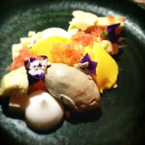 Orange curd, white chocolate aero, pomelo and black sesame ice cream