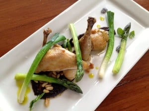 Roasted poussin with black garlic puree, leeks and asparagus for lunch at Morning Star Estate
