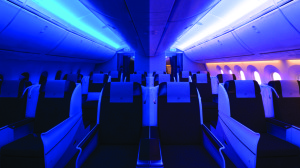 Royal Brunei's moodlit Dreamliner interior