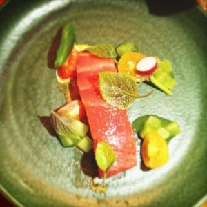 Seared Yellowfin tuna, tomatoes, cucumber and Chinese mint at The Long Table