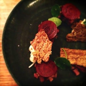 Spice cured duck, marinated beets, buckwheat and celariac at The Long Table