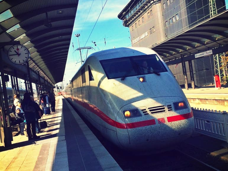 ICE train arriving into Frankfurt Main Station