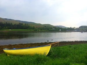 Yellow boat at Loch Melfort
