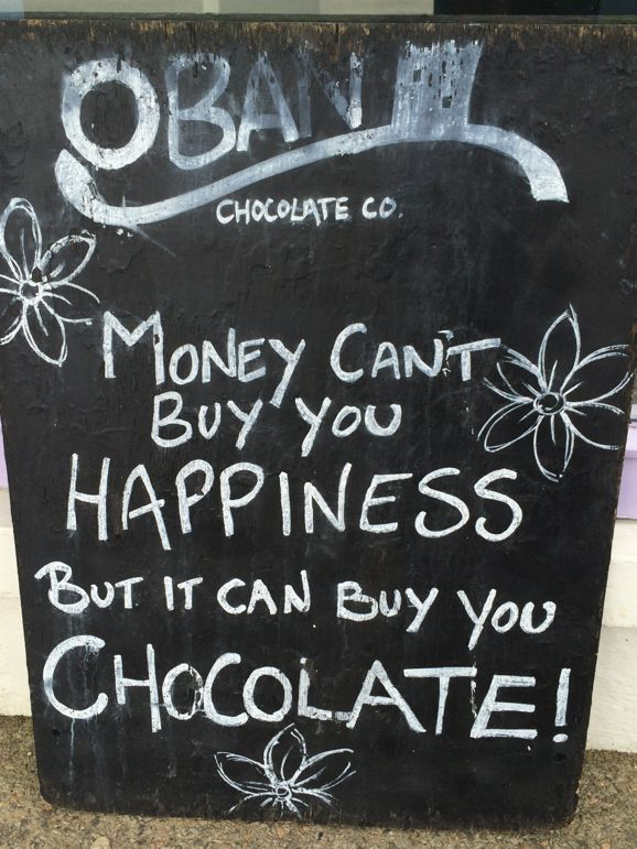The sign says it all, at Oban Chocolate Company