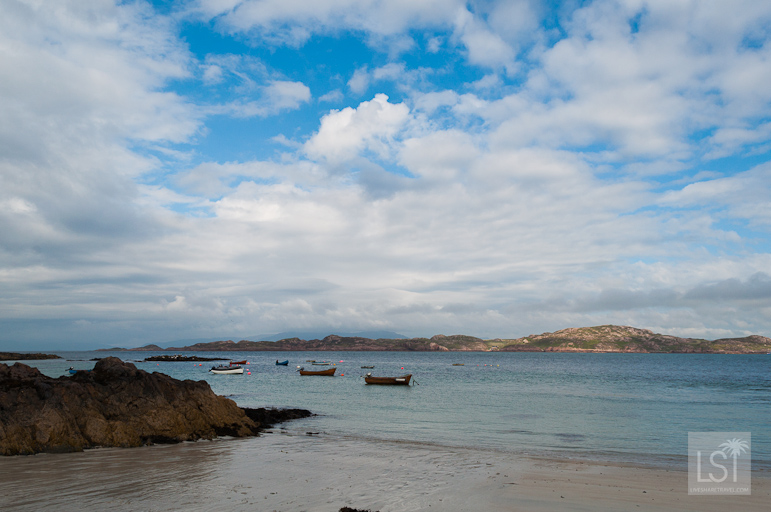 Boats bobbing on the sea off the coast of Iona