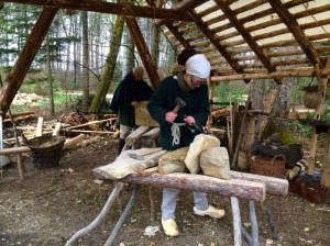 Stone masons at Campus Galli, a project aiming to build a mediaeval monastery using all traditional methods