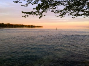 The last of the day's light over Lake Constance