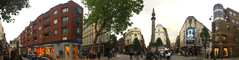 The streets of Seven Dials with the sundial pillar in the middle