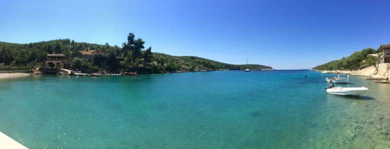 Our view across Pribinja Bay