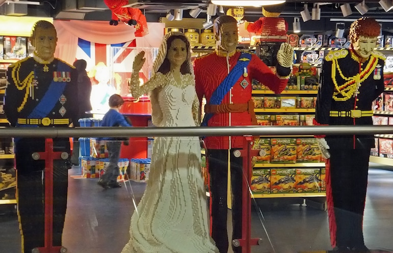 Places to go in London for families - make your own Lego royal family at Hamleys