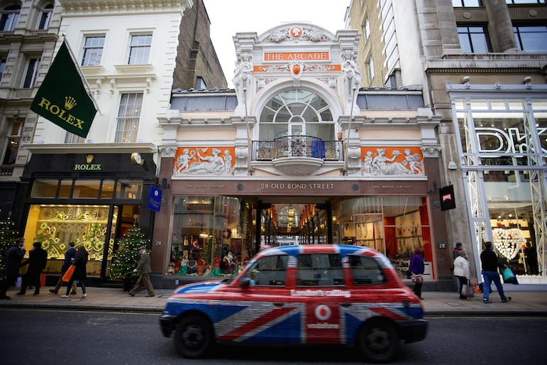 Places to go in London for luxury - shopping on Old Bond Street | pic: Stian Olsen