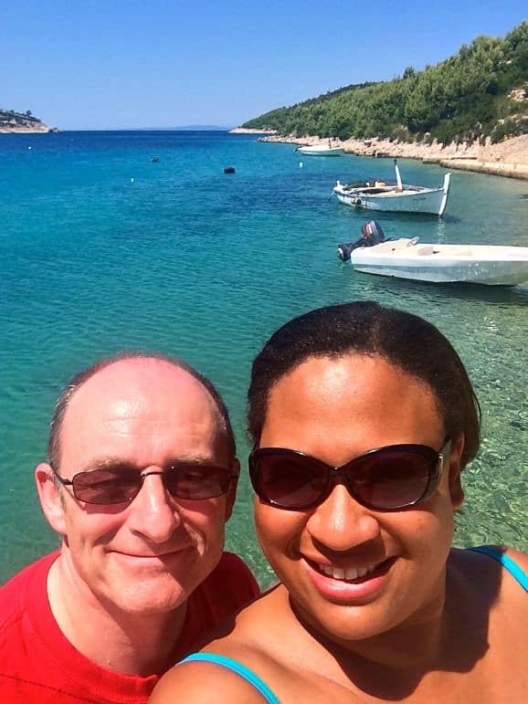 Terry and I enjoy our couples' holiday in Hvar's Pribinja Bay