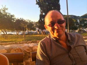 Terry relaxes in the evening sunshine as we enjoy some travel together