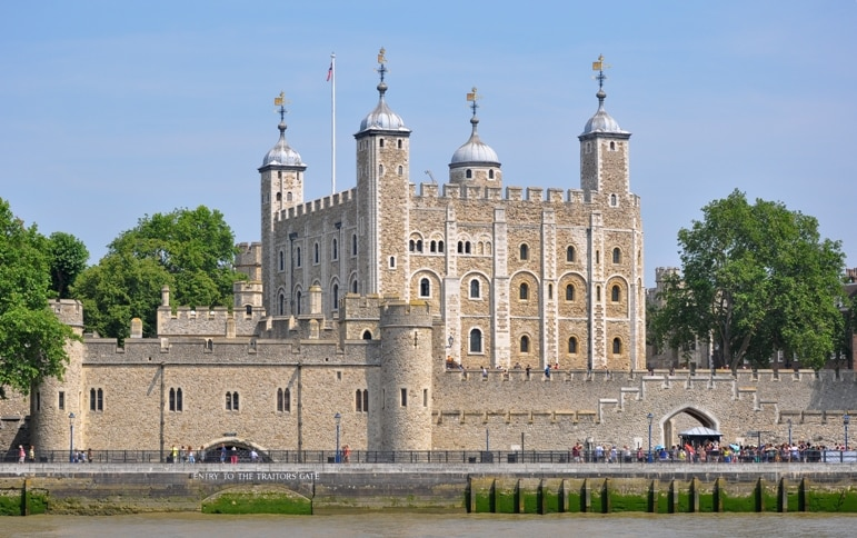 Places to go in London - the Tower of London viewed from the River Thames
