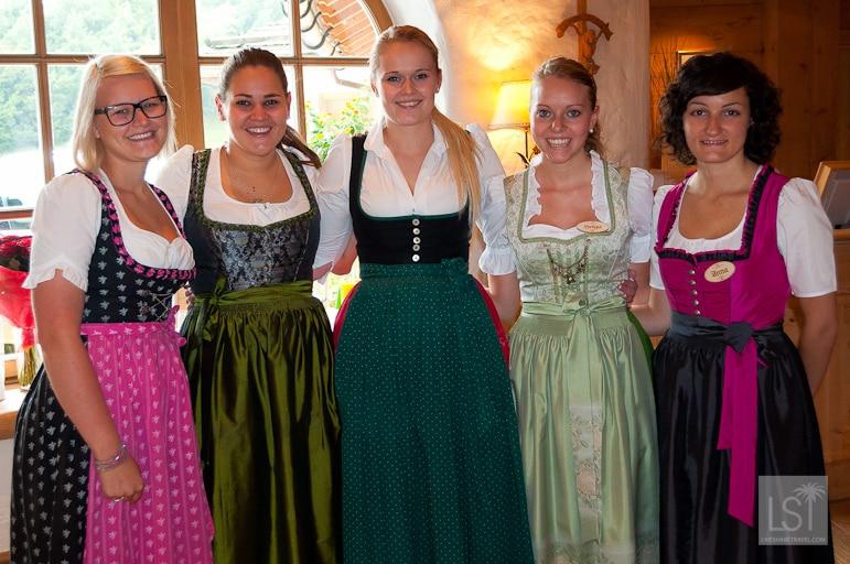 Hotel staff in traditional dirndls