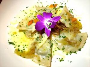 Cheese and onion lard ravioli at Bio-Hotel Stanglwirt, in Tirol Austria
