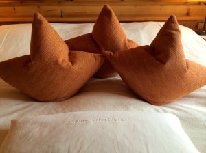 Herbal sleep pillow and cushions imitating the Wilder Kaiser at Bio-Hotel Stanglwirt