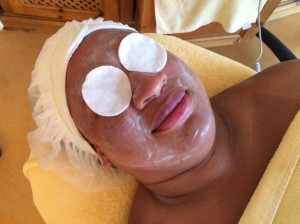 Sarah enjoying a butterfly facial (complete with fresh aloe vera mask) at Bio-Hotel Stanglwirt, in Tirol Austria