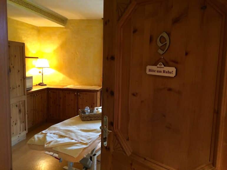 Treatment room at Bio-Hotel Stanglwirt, Tirol Austria