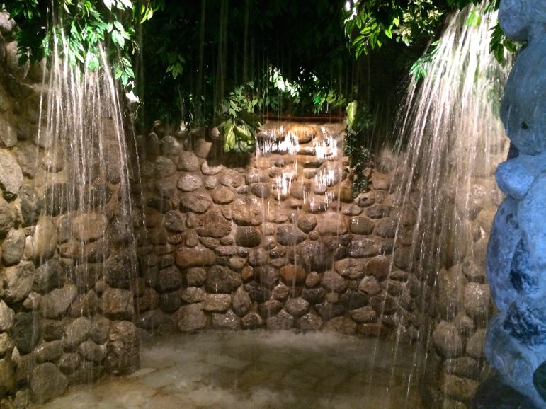 Waterfall for a cool shower in the Bio-Hotel Stanglwirt spa in Tirol Austria