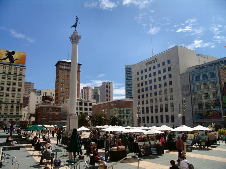 Union Square, one of the best places to go in San Francisco for shopping. Pic: Dennis Matheson