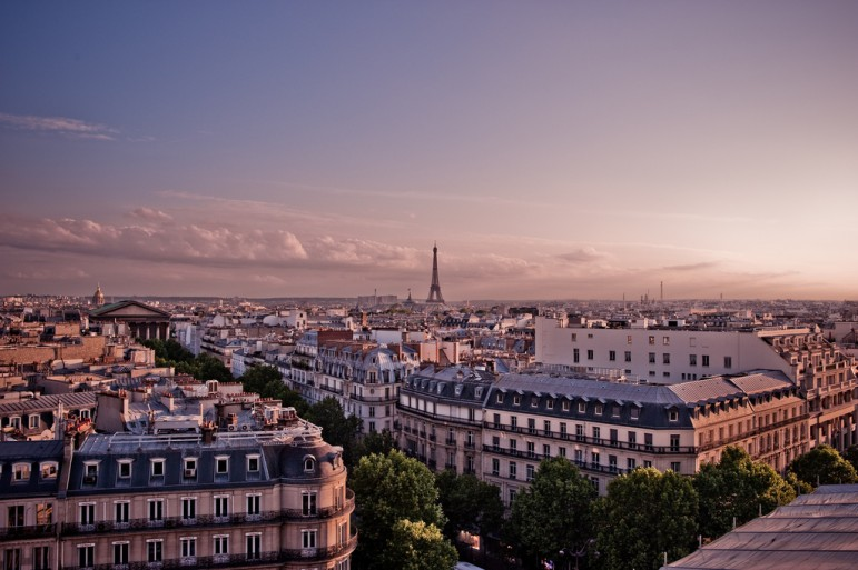 Sunset skyline of Paris, France